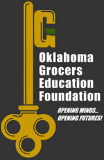Oklahoma Grocers Education Foundation key logo that says Opening Minds Opening futures!