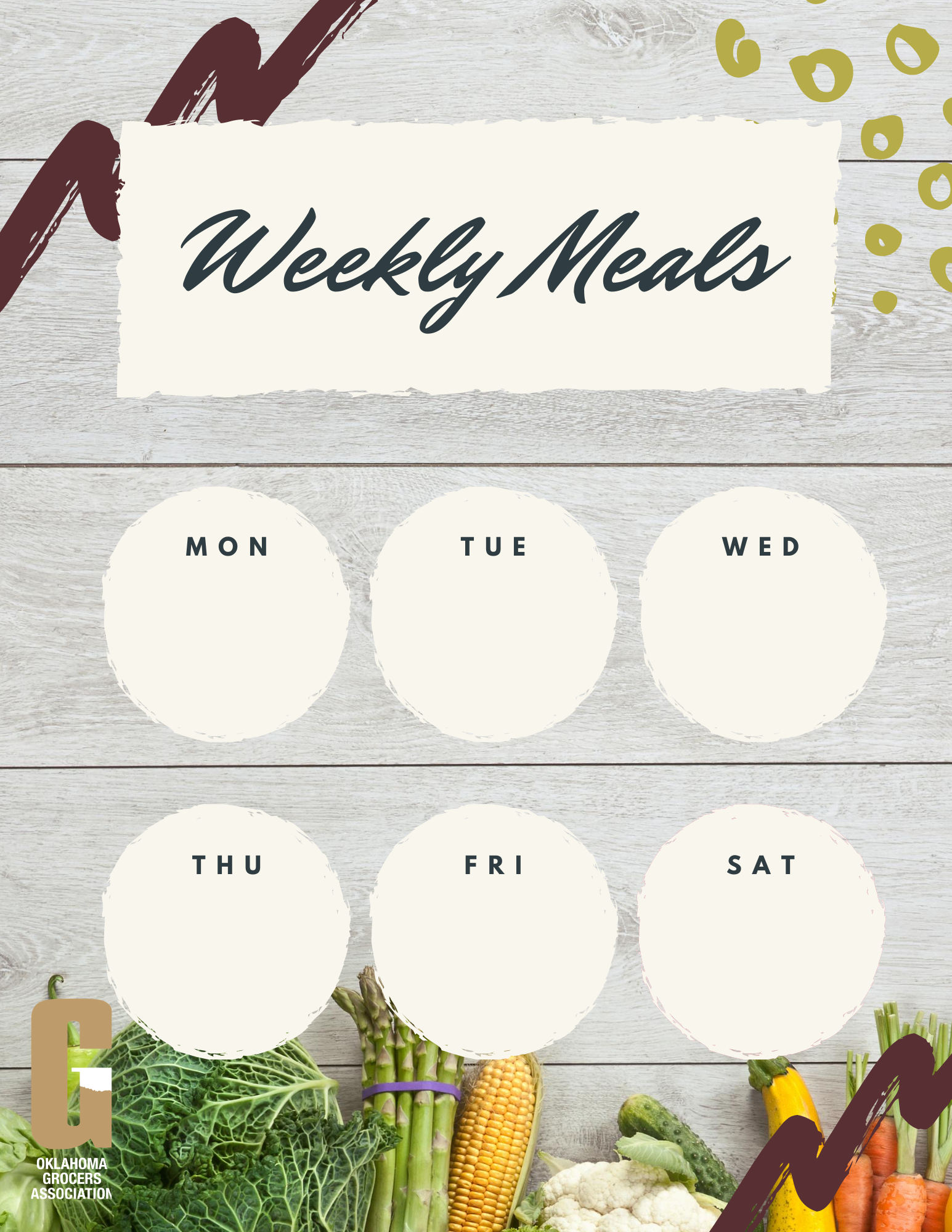 Free printable weekly meal planner courtesy of OGA